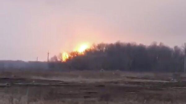 Скриншот видео Игоря Мосийчука о пожаре на газопроводе в Полтавской области Украины