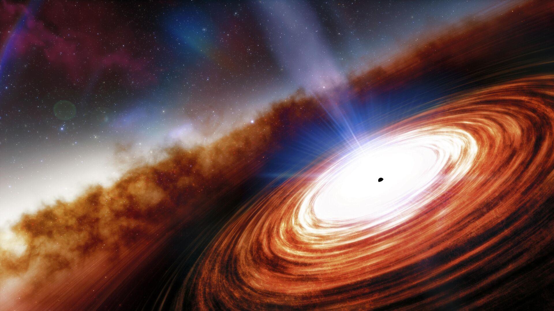Так в представлении художника выглядел квазар J0313–1806 сразу после образования - РИА Новости, 1920, 12.01.2021