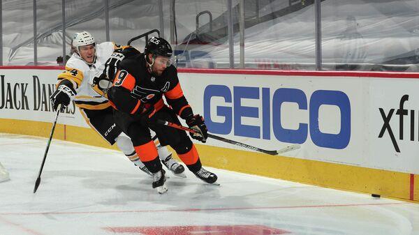Иван Проворов в матче НХЛ между командами Филадельфия Флайерз и Питтсбург Пингвинз