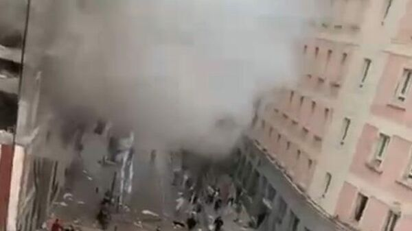 Кадры с места мощного взрыва в Мадриде