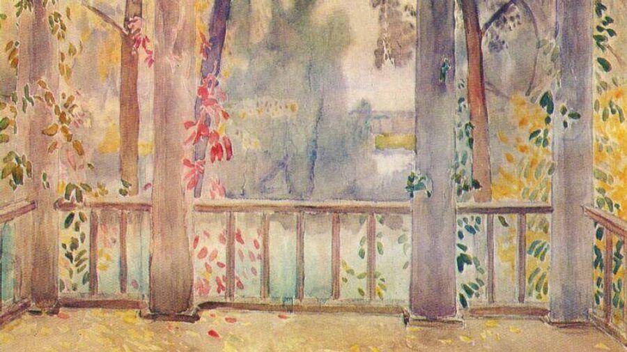 Репродукция картины художника Виктора Борисова-Мусатова На балконе в Тарусе