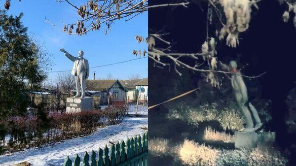 Памятник Ленину в Одесской области до и после сноса