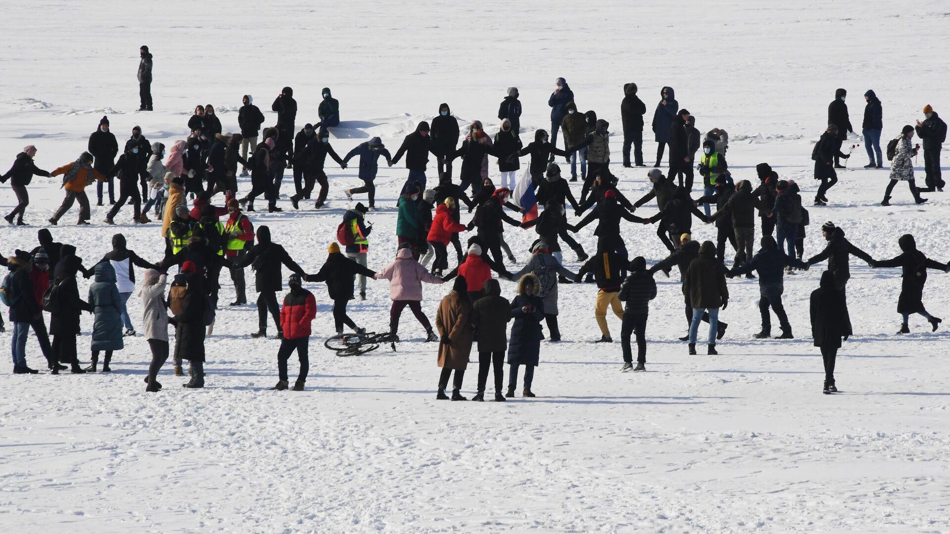 Участники несанкционированной акции протеста сторонников А. Навального во Владивостоке - РИА Новости, 1920, 31.01.2021