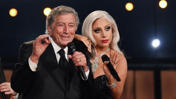 Тони Беннетт и Леди Гаги на церемонии вручения премии Грэмми