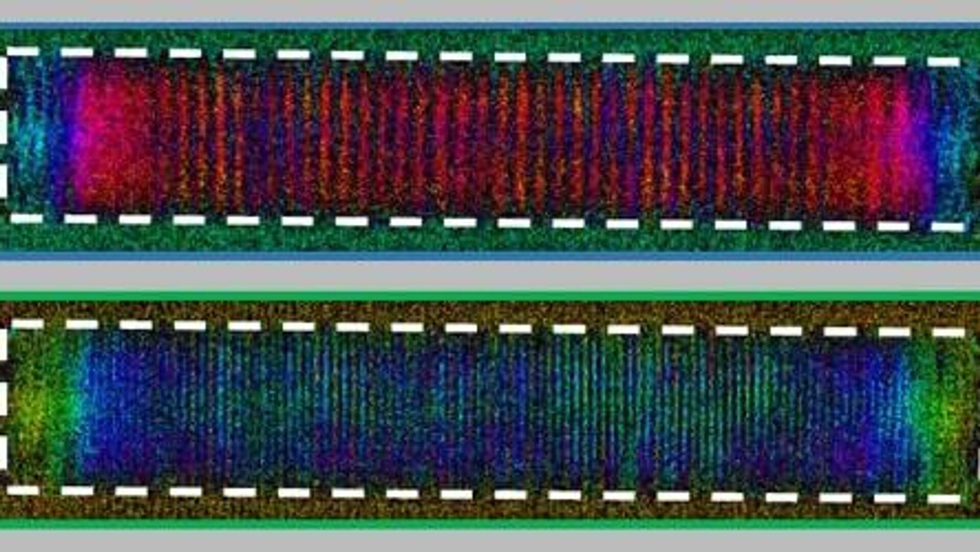 Электронные спиновые волны в полоске из сплава никеля и железа конденсируются, образуя новое экзотическое состояние, которое повторяется как в пространстве, так и во времени - РИА Новости, 1920, 04.02.2021
