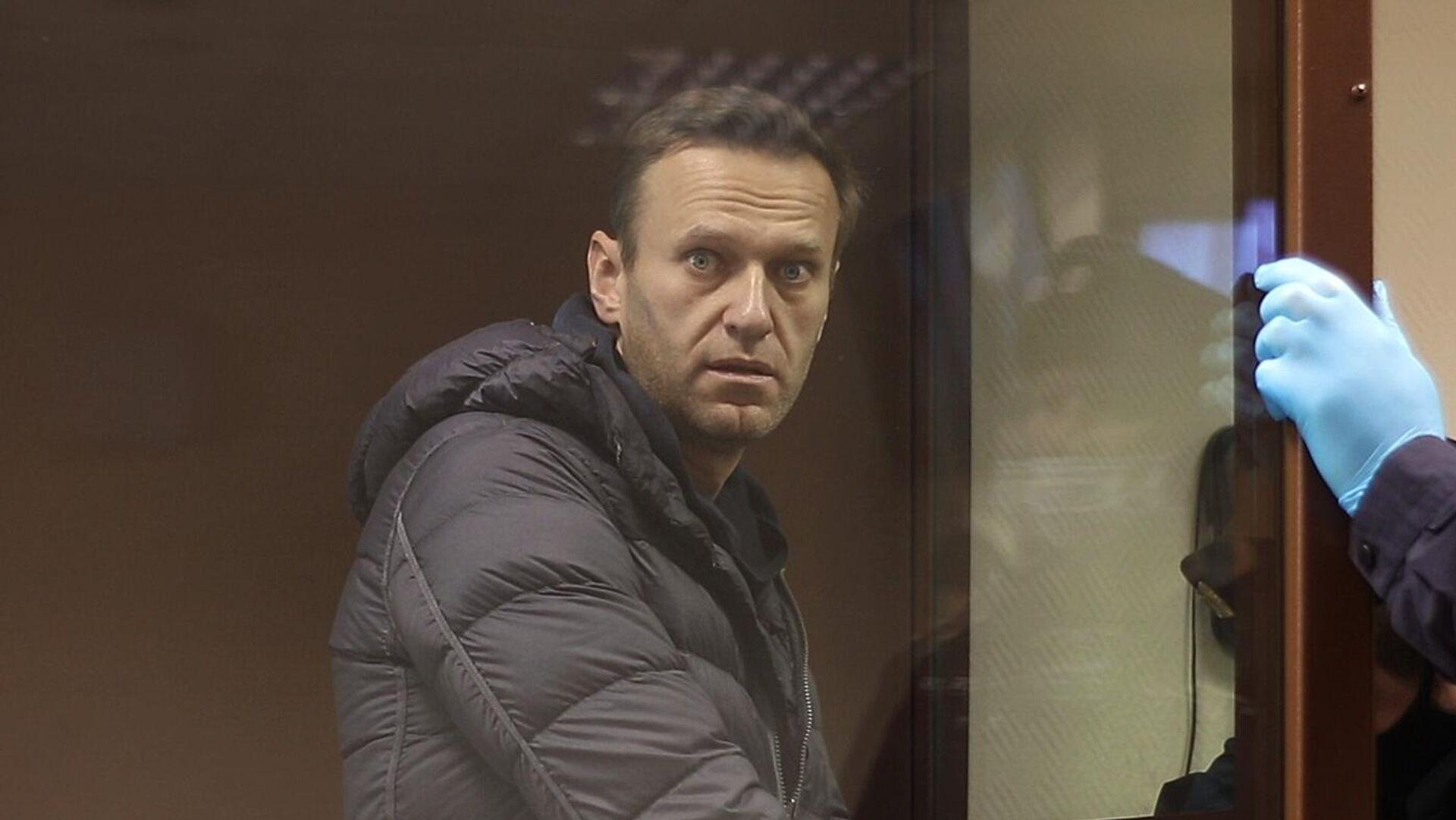 Алексей Навальный в зале Бабушкинского районного суда, где идет заседание по делу о клевете в отношении ветерана Великой Отечественной войны Игната Артеменко - РИА Новости, 1920, 09.02.2021