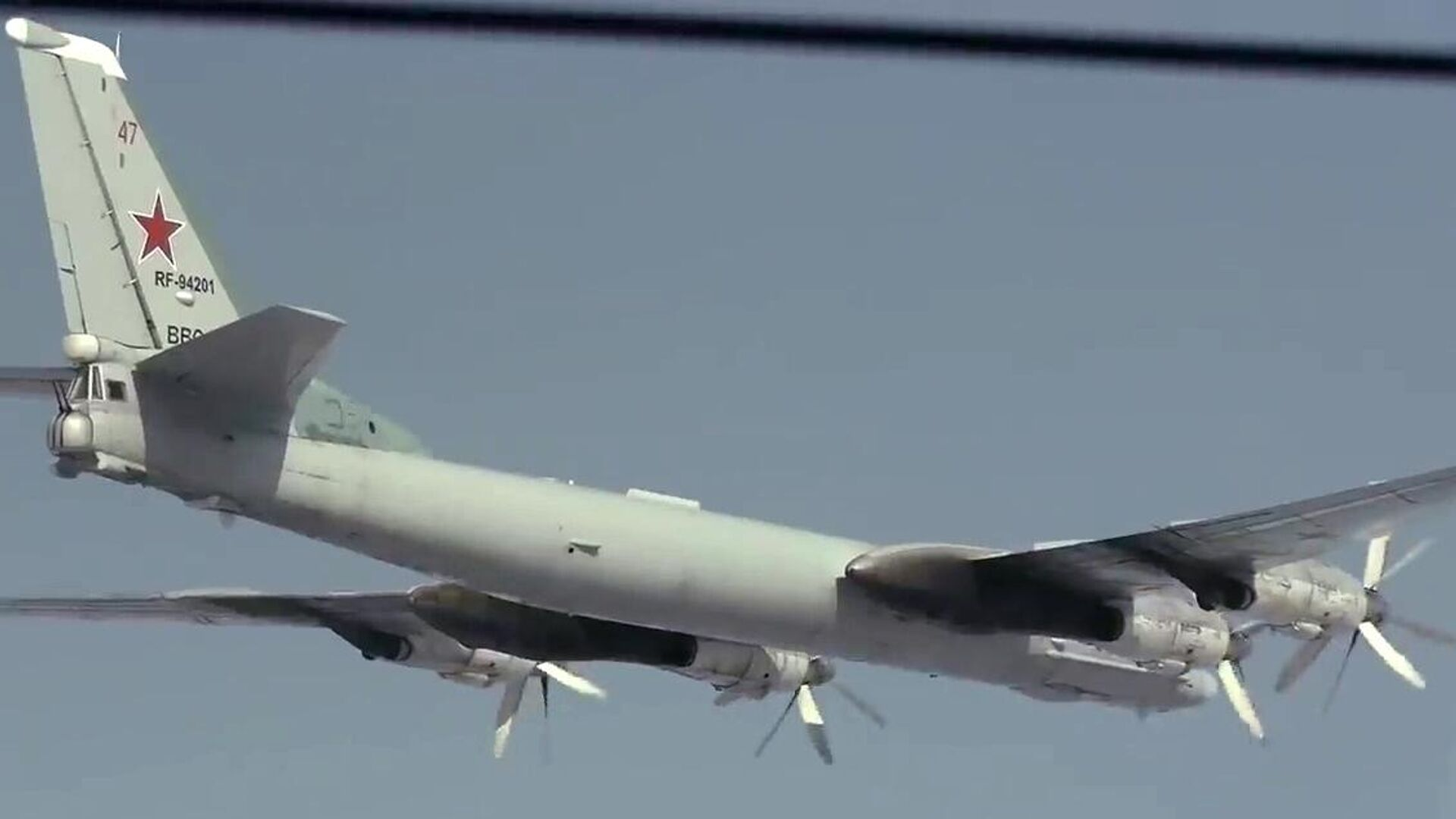 Стратегический бомбардировщик-ракетоносец Ту-95МС во время полета в Амурской области - РИА Новости, 1920, 23.05.2021