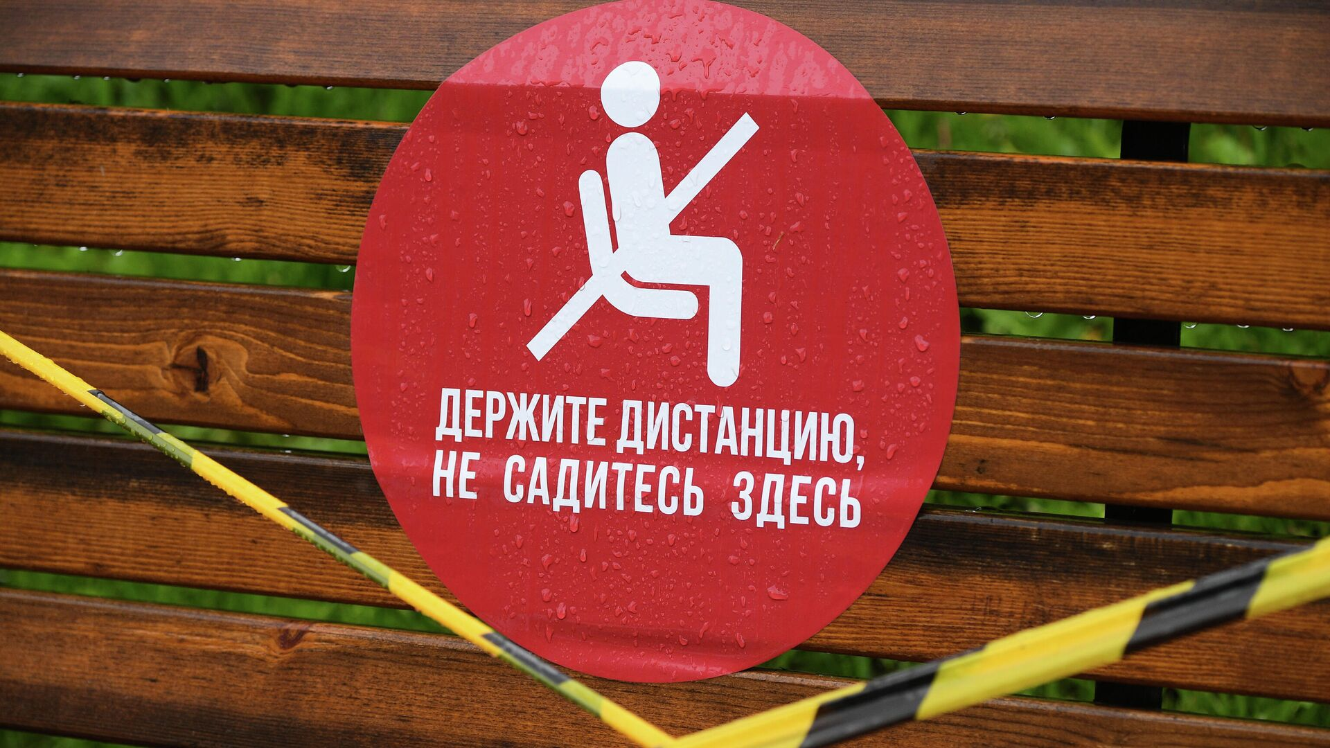 Наклейка на скамейке в парке Коломенское - РИА Новости, 1920, 12.02.2021