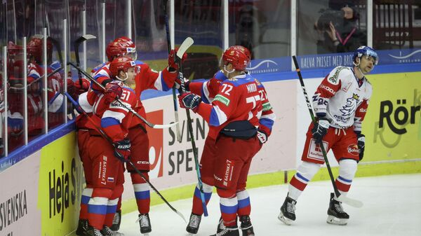 Ice Hockey - Beijer Hockey Games - Russia v Czech Republic - Malmo Arena, Malmo, Sweden - February 14, 2021 Russia's Nikolai Kovalenko celebrates scoring with teammates TT News Agency via REUTERS/Andreas Hillergren/tt THIS IMAGE HAS BEEN SUPPLIED BY A THIRD PARTY. IT IS DISTRIBUTED, EXACTLY AS RECEIVED BY REUTERS, AS A SERVICE TO CLIENTS. SWEDEN OUT. NO COMMERCIAL OR EDITORIAL SALES IN SWEDEN..