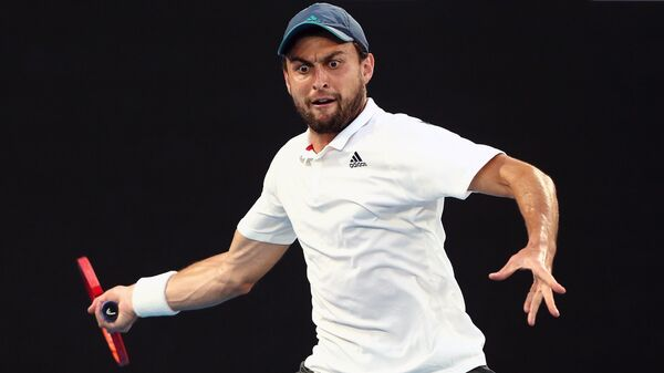 Аслан Карацев (Россия) в полуфинальном матче Открытого чемпионата Австралии 2021 (Australian Open 2021)