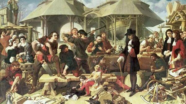 Пётр I в Дептфорде в 1698 году. Даниел Маклиз