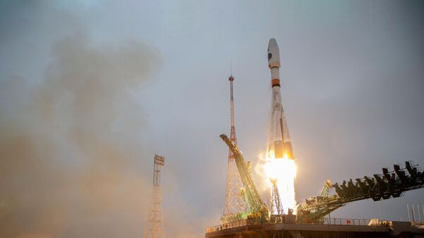Запуск ракеты-носителя Союз-2.1б с космическим аппаратом Арктика-М c космодрома Байконур