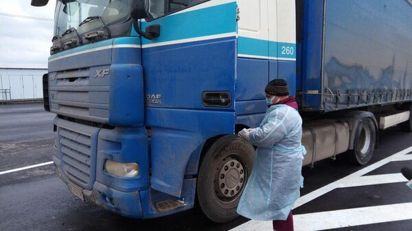 Прибытие гуманитарного груза ООН на КПП Луганск-Счастье