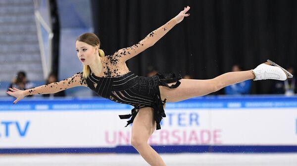 Мария Сотскова (Россия) выступает в произвольной программе женского одиночного катания на XXIX Всемирной зимней Универсиаде 2019.