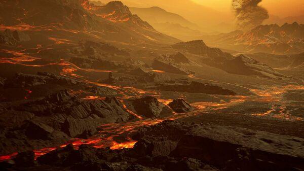Художественное представление о поверхности экзопланеты Gliese 486b, где при температуре около 430 градусов Цельсия текут реки лавы
