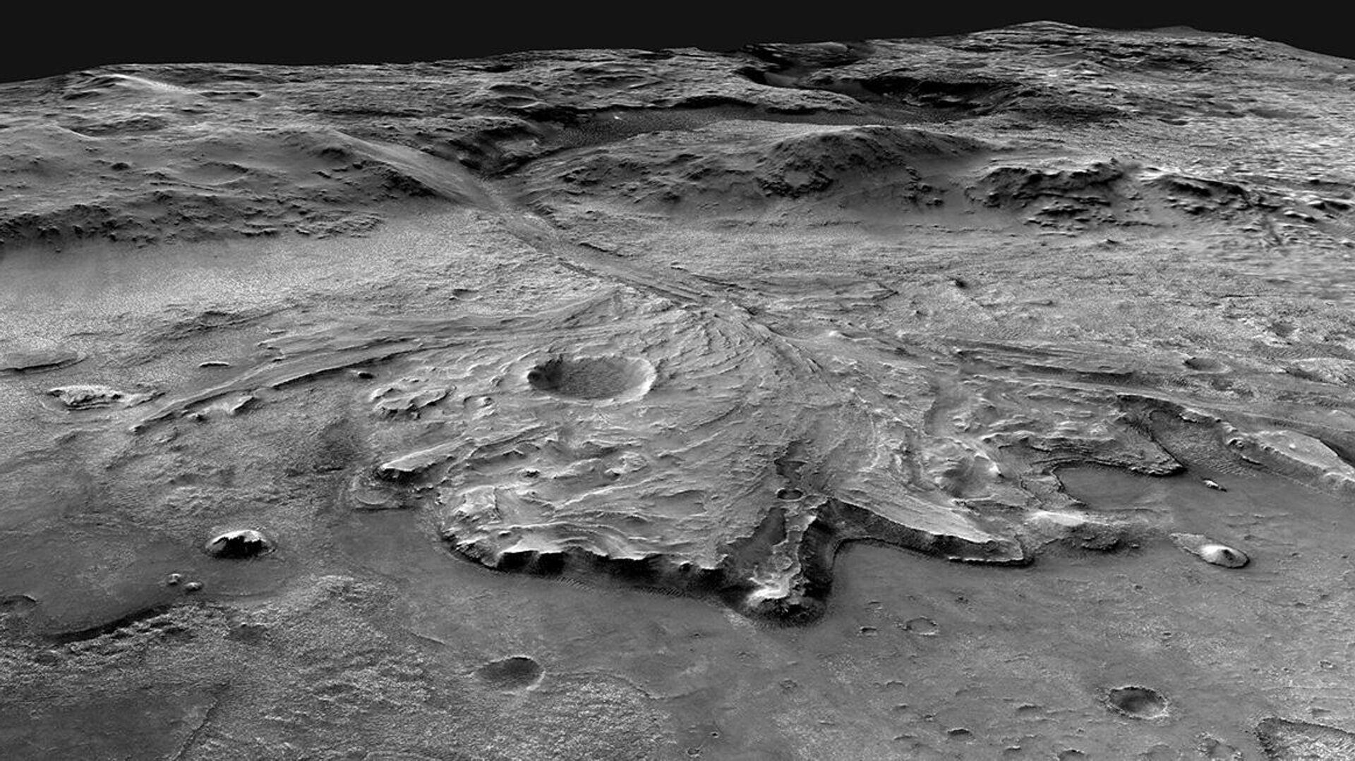 Дельта древней реки на поверхности Марса - РИА Новости, 1920, 17.03.2021