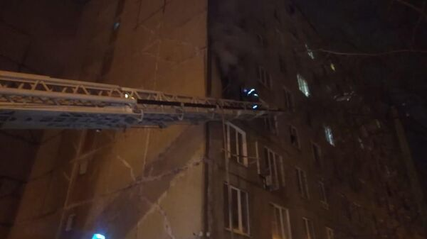 Пожар в многоэтажном доме в Уфе