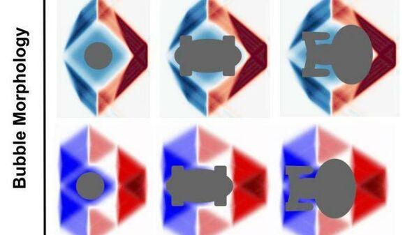 Художественное представление космических кораблей различной формы внутри теоретических конфигураций пузырей искривления