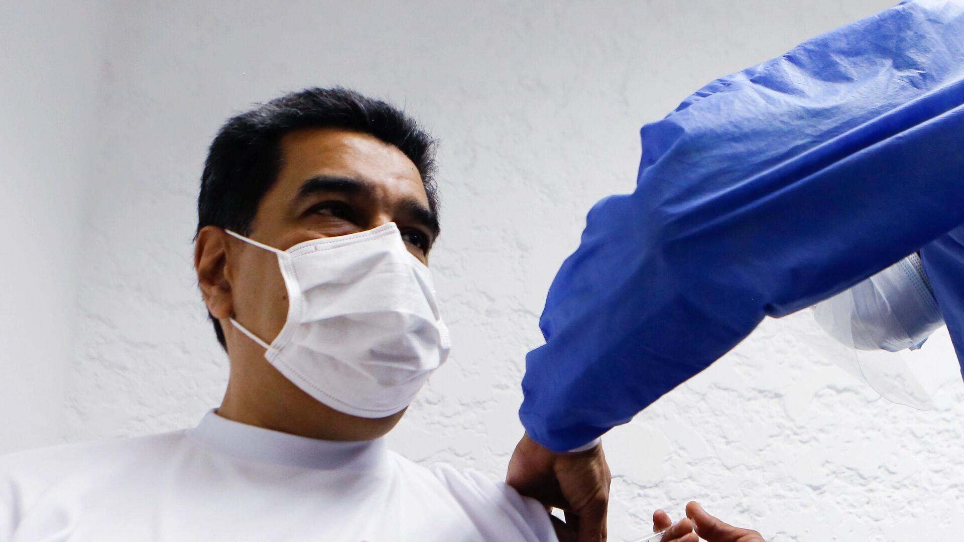 Президент Венесуэлы Николас Мадуро вакцинируется российским препаратом от коронавируса Спутник V - РИА Новости, 1920, 29.03.2021