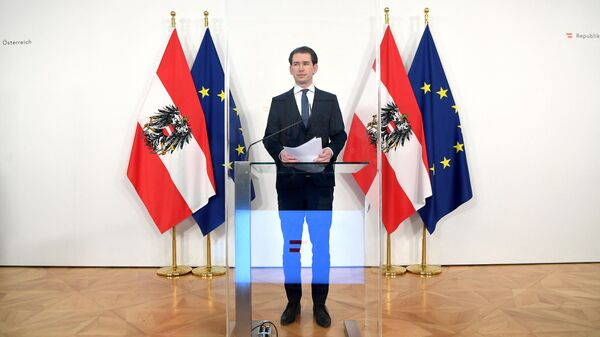 Канцлер Австрии Себастьян Курц выступает на пресс-конференции, посвященной текущей ситуации с поставками вакцин от COVID-19 в Вене. 12 марта 2021 года