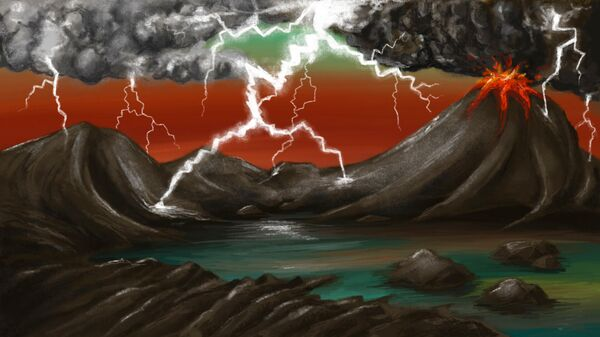 Художественное представление ранней Земли. Молнии, ударяющие в вулканические породы, создают фульгуриты, которые содержат фосфор в растворимой форме