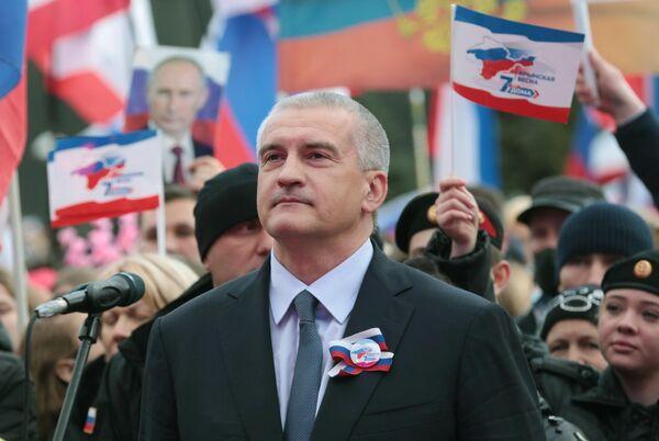 Глава Республики Крым Сергей Аксёнов на праздничном концерте в честь седьмой годовщины Крымской весны в Симферополе