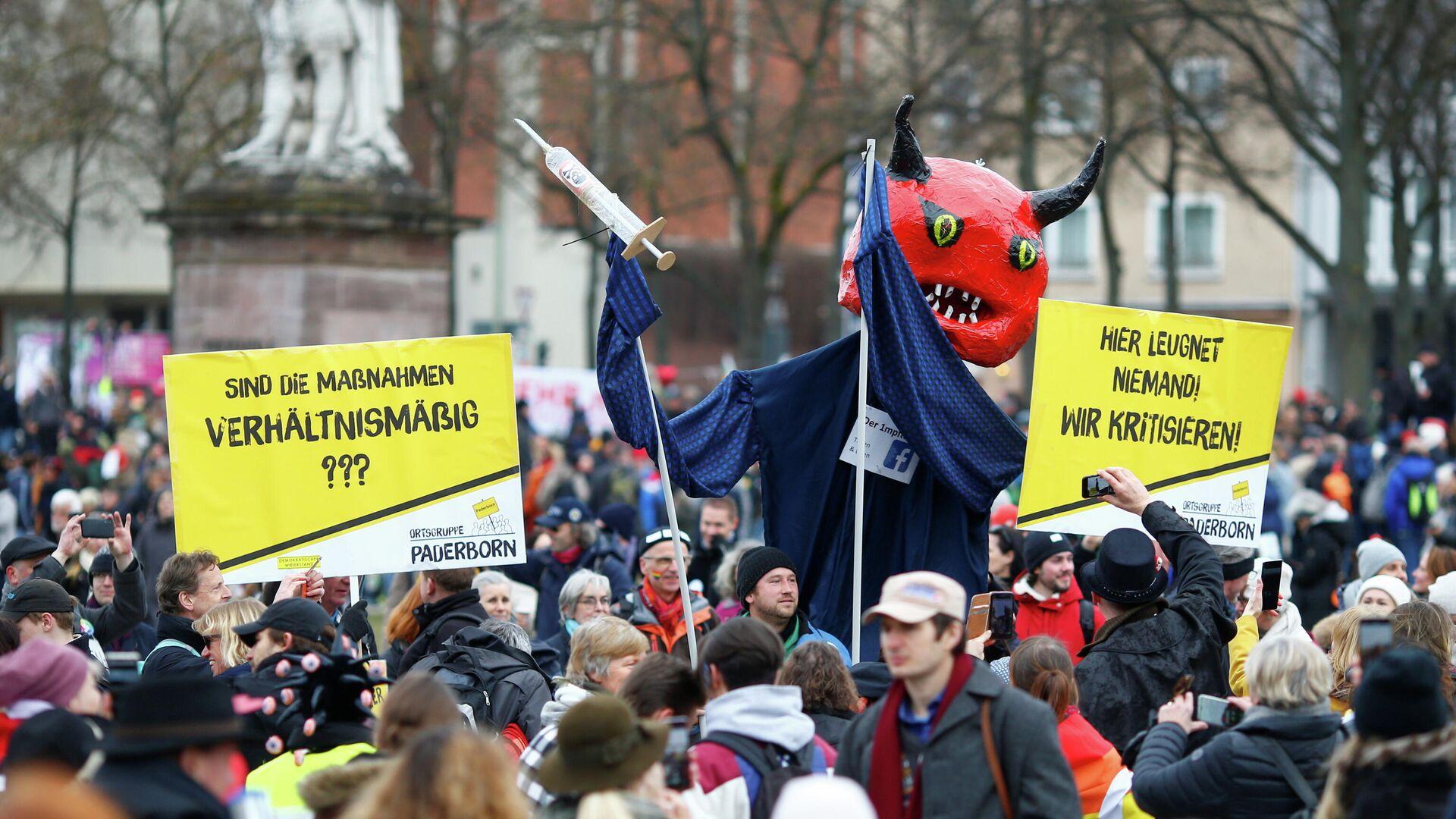 Акция протеста против мер по борьбе с коронавирусом в Касселе, Германия - РИА Новости, 1920, 01.04.2021