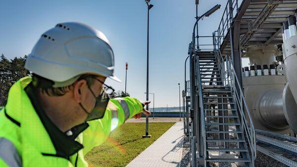 Береговые объекты на территории газораспределительного центра магистрального газопровода Северный поток-2 в городе Любмин в Германии