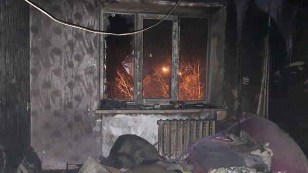 Пожар в многоквартирном доме в городе Кыштым Челябинской области