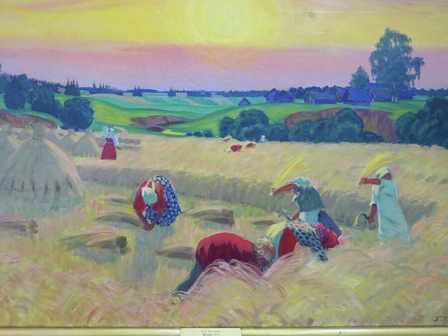 Кустодиев. Жатва (1914)