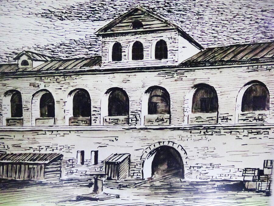 Армянское подворье. Гравюра 19 века из Краеведческого музея