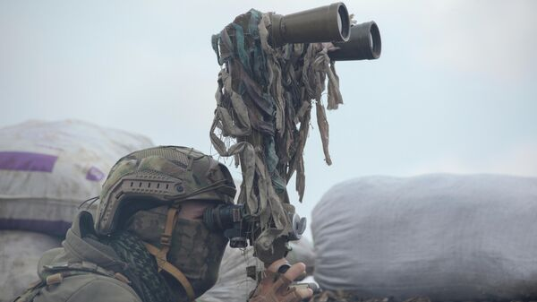 Военнослужащий украинских вооруженных сил осматривает в бинокль территорию на боевых позициях на линии разделения близ города Донецк