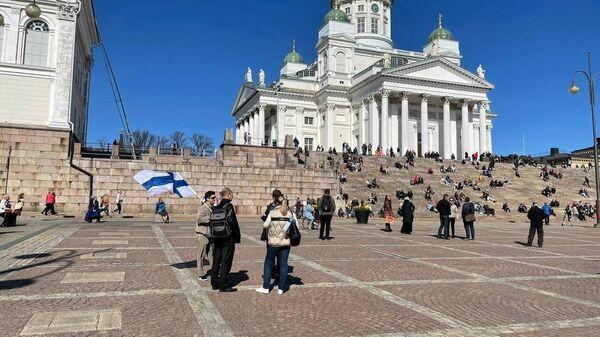 Акция против ограничений, введенных из-за коронавируса в Хельсинки, Финляндия