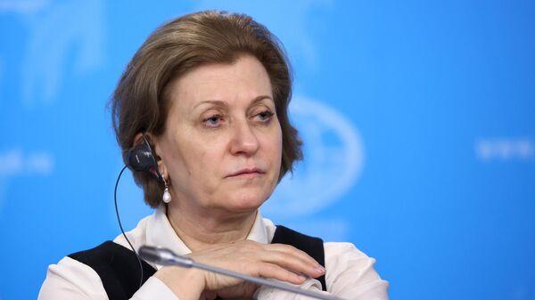 Главный государственный санитарный врач РФ Анна Попова во время презентации мобильного приложения Путешествую без COVID-19