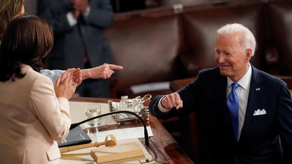 Президент США Джо Байден и вице-президент Камала Харрис в Капитолии