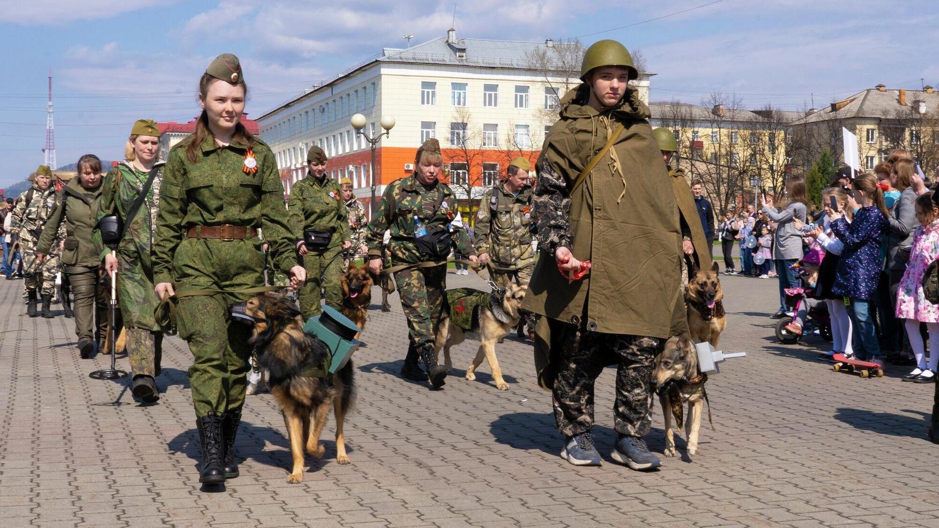 Полк собак прошагал торжественным маршем в День Победы в кузбасском Междуреченске - РИА Новости, 1920, 09.05.2021