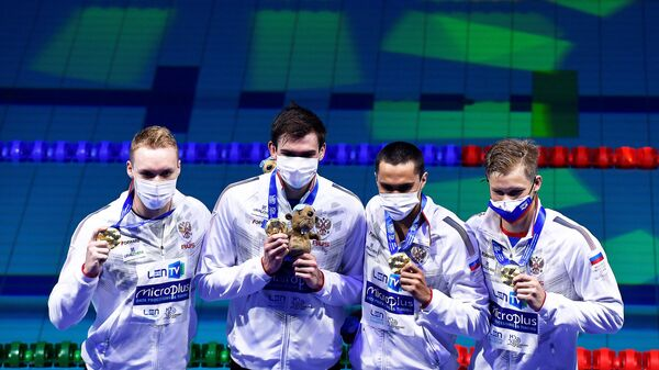 Российские пловцы Андрей Минаков, Климент Колесников, Владислав Гринев и Александр Щеголев