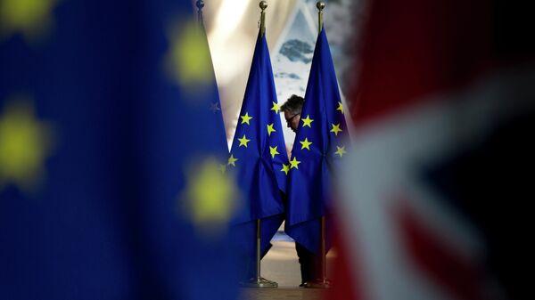 Флаги Евросоюза в здании Совета Европы в Брюсселе