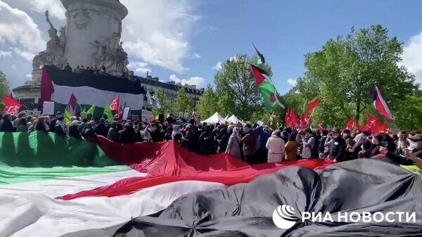Акция в Париже в поддержку Палестины