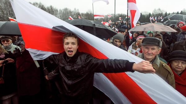 Активист Роман Протасевич во время акции протеста в Минске