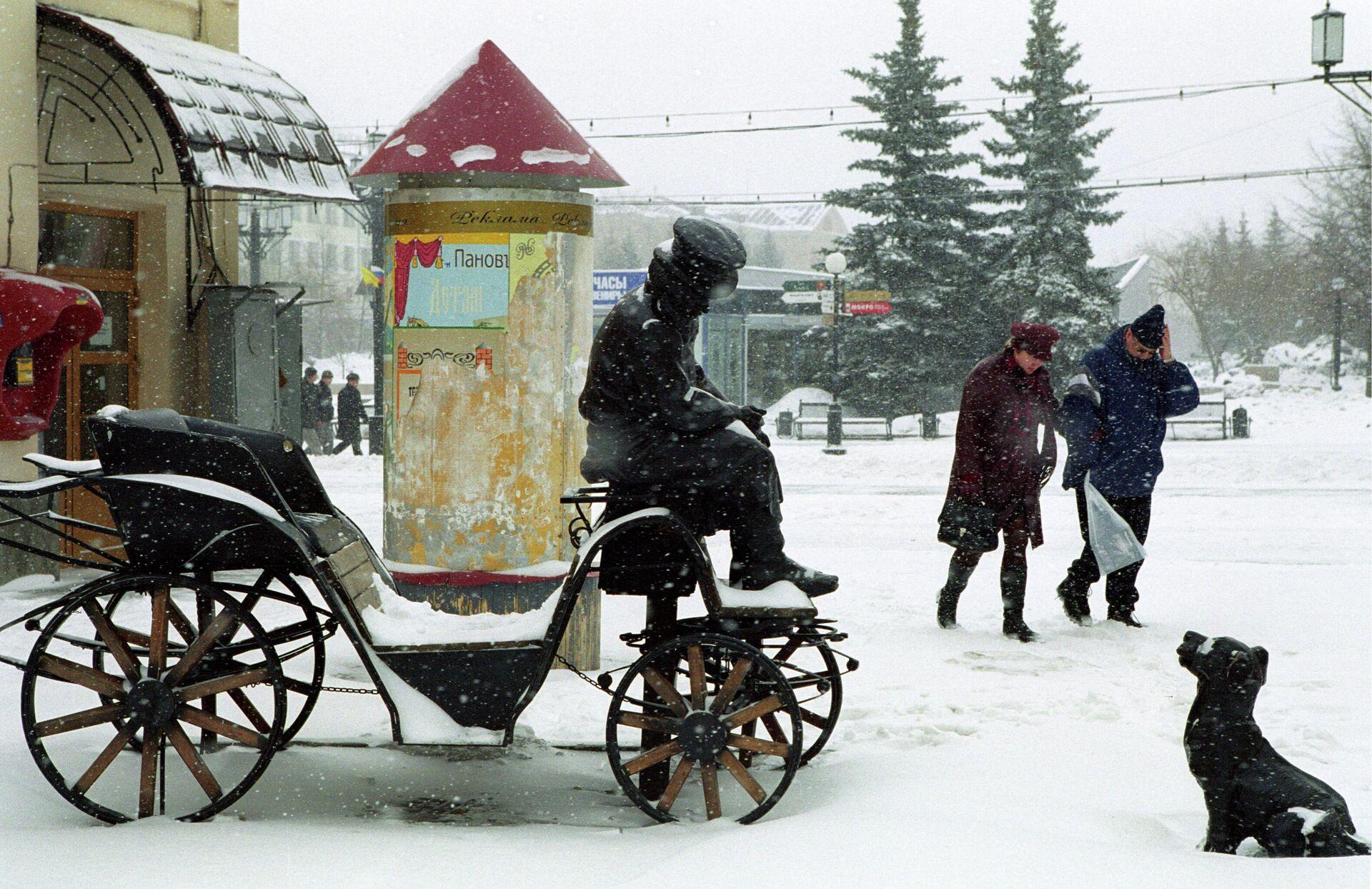 Повозка с кучером на улице Кирова в Челябинске - РИА Новости, 1920, 06.06.2021