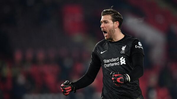 Liverpool's Spanish goalkeeper Adrian reacts after the second goal during the English Premier League football match between Sheffield United and Liverpool at Bramall Lane in Sheffield, northern England on February 28, 2021. (Photo by Shaun Botterill / POOL / AFP) / RESTRICTED TO EDITORIAL USE. No use with unauthorized audio, video, data, fixture lists, club/league logos or 'live' services. Online in-match use limited to 120 images. An additional 40 images may be used in extra time. No video emulation. Social media in-match use limited to 120 images. An additional 40 images may be used in extra time. No use in betting publications, games or single club/league/player publications. /