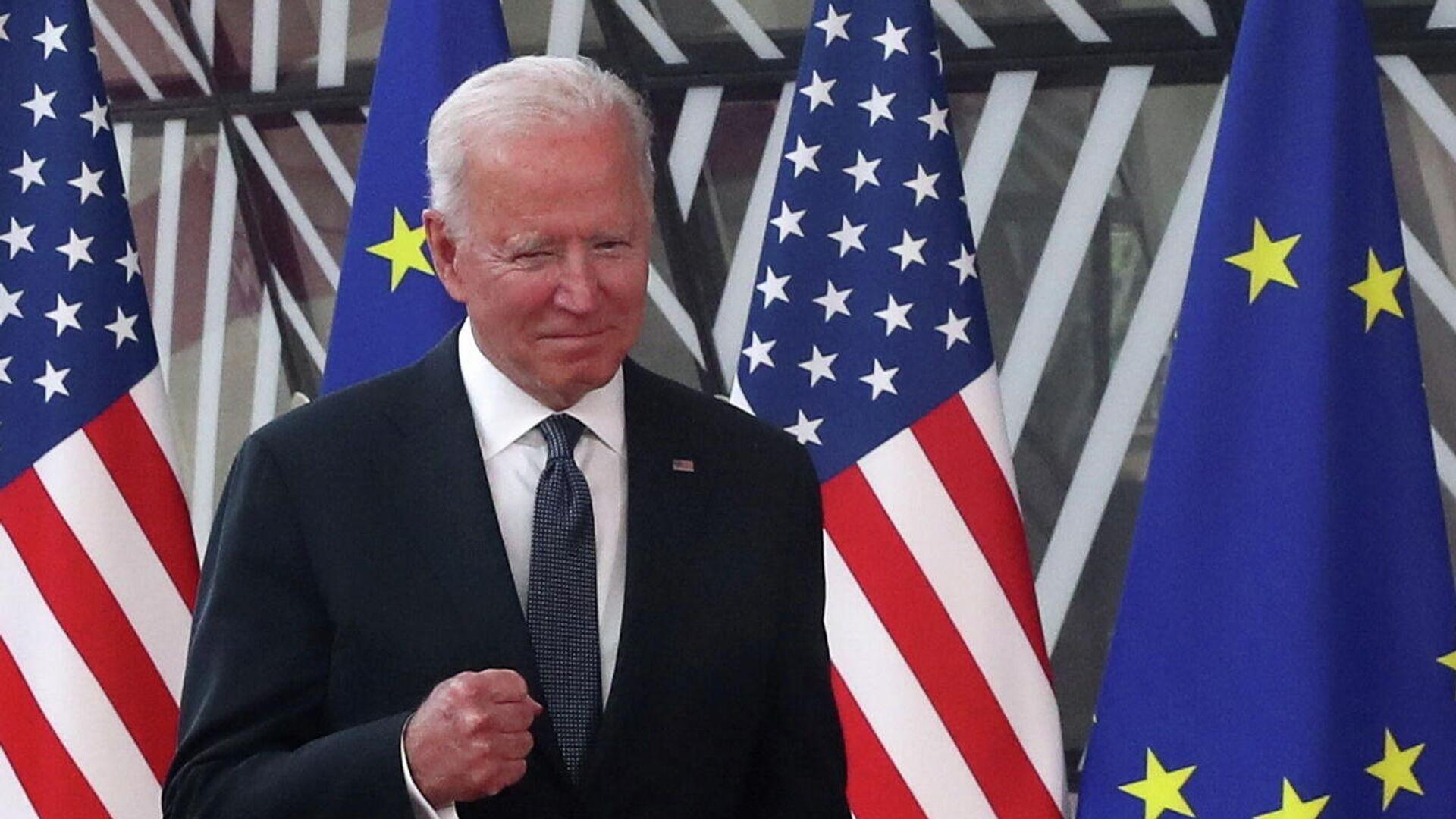 Президент США Джо Байден прибывает на саммит ЕС-США в Брюссель, Бельгия - РИА Новости, 1920, 16.06.2021