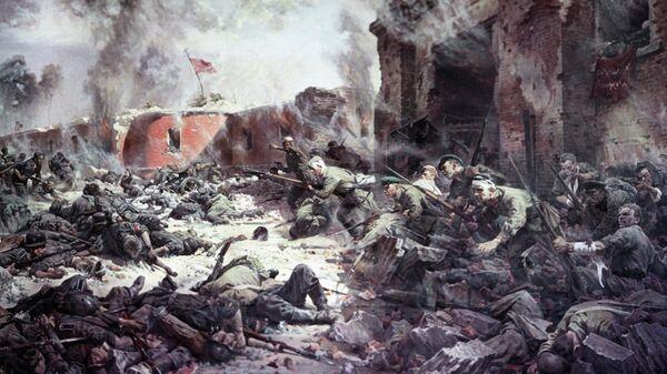 Репродукция картины художника Петра Александровича Кривоногова Защитники Брестской крепости, 1951 год