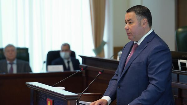 Губернатор Тверской  области Игорь Руденя выступает  с ежегодным отчетом в областном парламенте