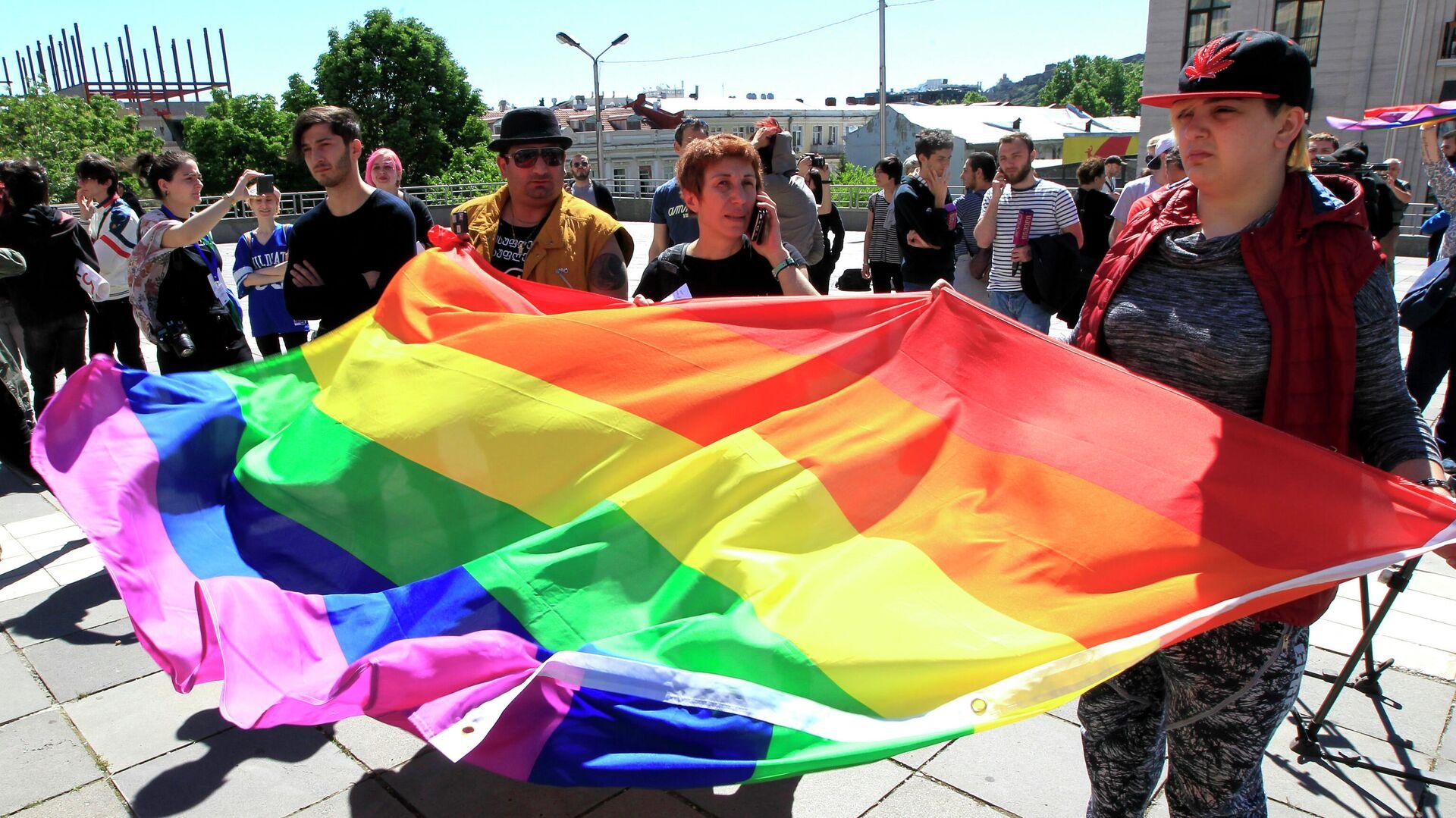 Участники акции в поддержку ЛГБТ сообщества в Тбилиси - РИА Новости, 1920, 05.07.2021