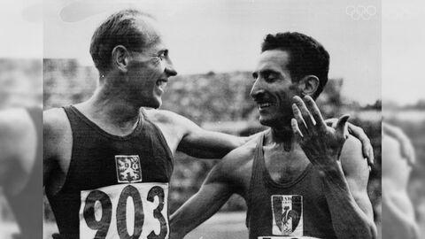 Участники Олимпийских игр 1952 года Эмиль Затопек (слева) и Ален Мимун