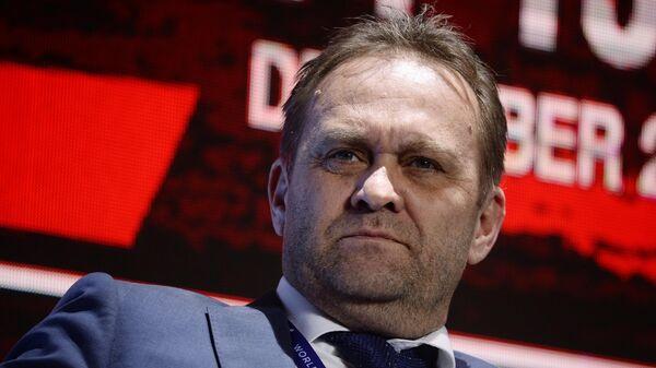 Президент Датского хоккейного союза Хенрик Бах Нильсен на втором Международном хоккейном форуме в Москве.