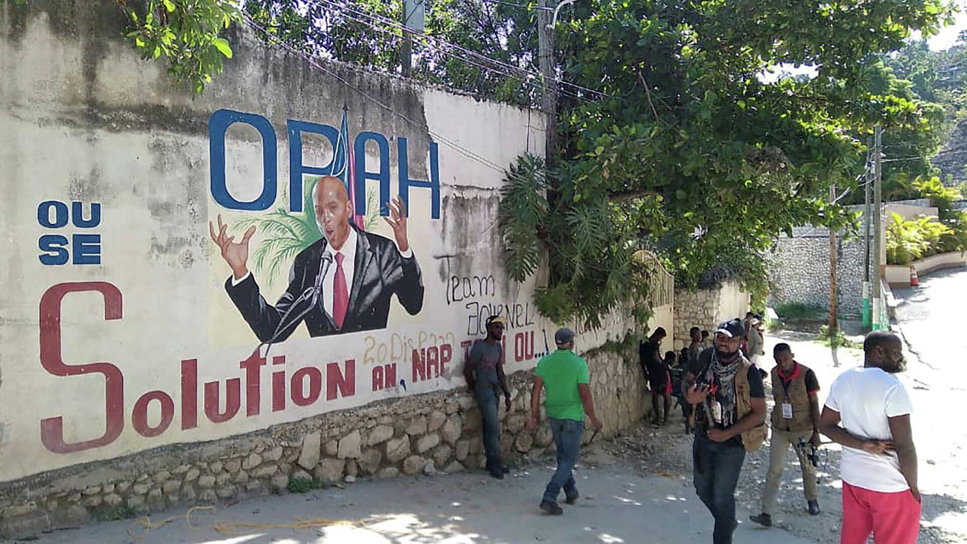 Граффити с портретом президента Гаити Жовенеля Мойза в Порт-о-Пренсе - РИА Новости, 1920, 19.07.2021