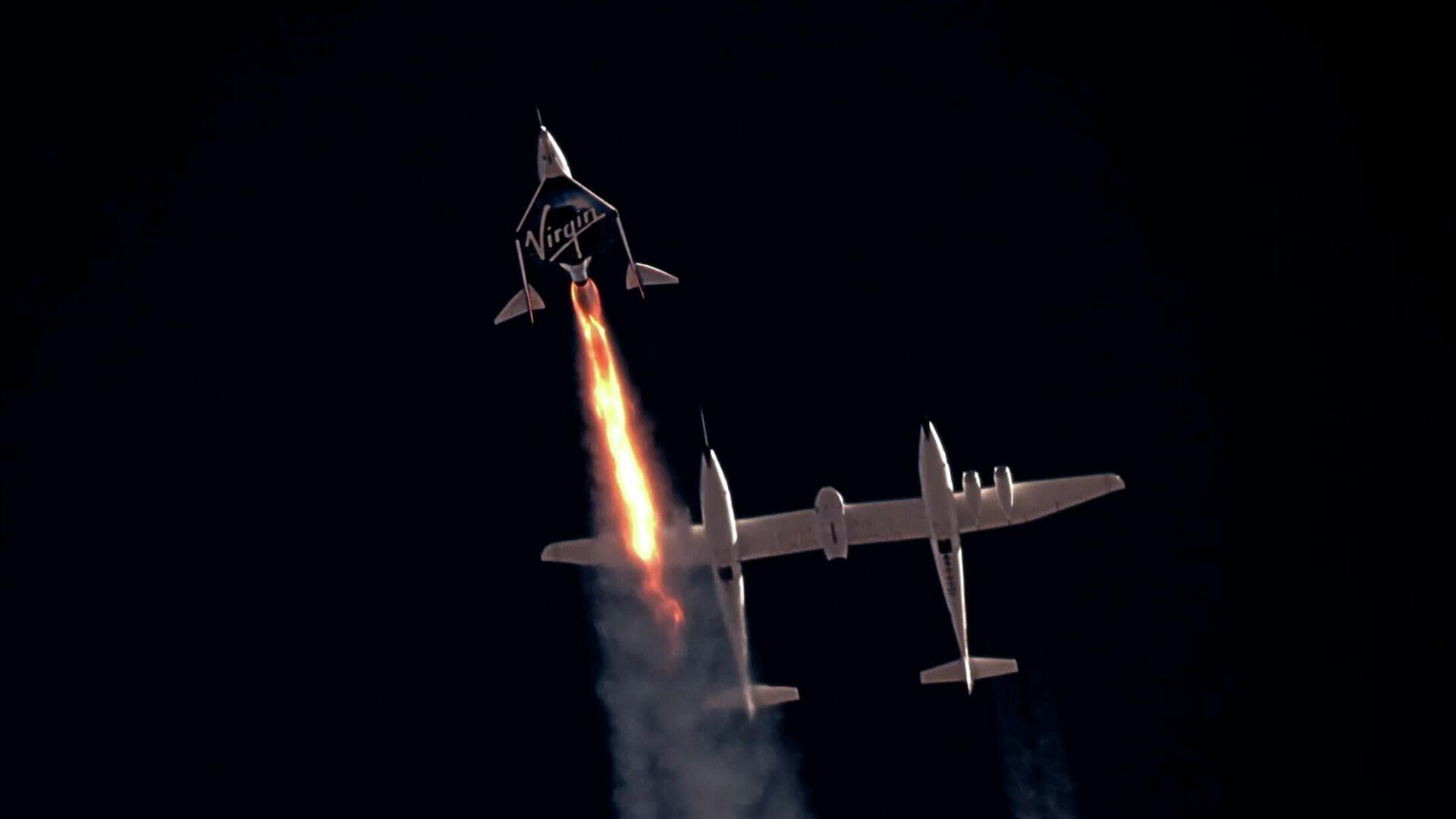 Старт космического корабля VSS Unity компании Virgin Galactic с Ричардом Брэнсоном на борту - РИА Новости, 1920, 06.08.2021